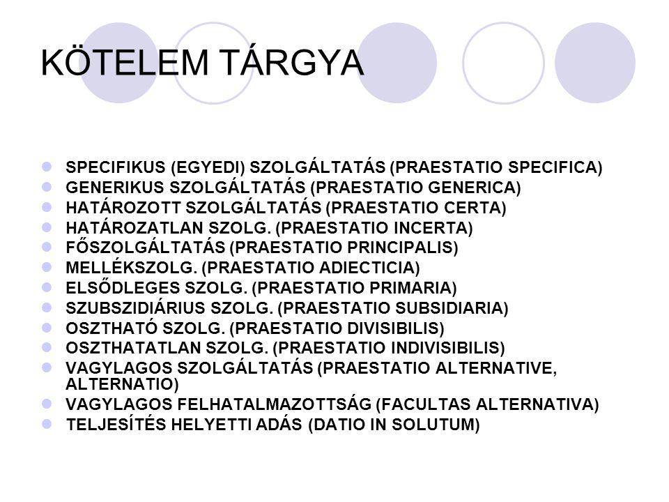 KÖTELEM TÁRGYA SPECIFIKUS (EGYEDI) SZOLGÁLTATÁS (PRAESTATIO SPECIFICA) GENERIKUS SZOLGÁLTATÁS (PRAESTATIO GENERICA) HATÁROZOTT SZOLGÁLTATÁS (PRAESTATI