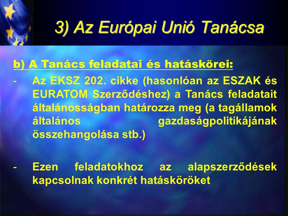 3) Az Európai Unió Tanácsa b) A Tanács feladatai és hatáskörei: -Az EKSZ 202.
