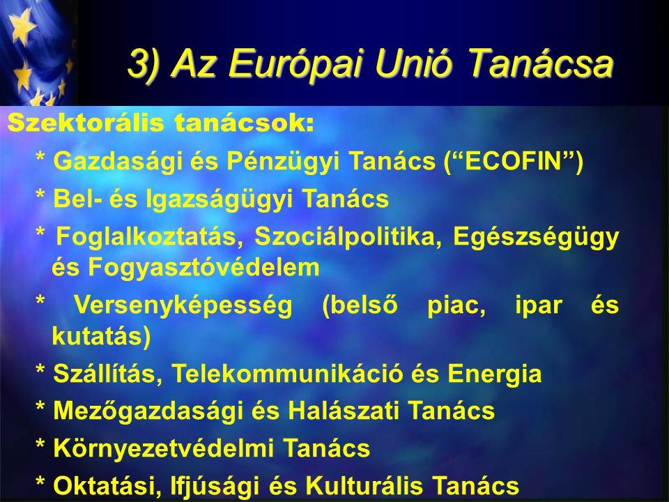 3) Az Európai Unió Tanácsa Szektorális tanácsok: * Gazdasági és Pénzügyi Tanács ( ECOFIN ) * Bel- és Igazságügyi Tanács * Foglalkoztatás, Szociálpolitika, Egészségügy és Fogyasztóvédelem * Versenyképesség (belső piac, ipar és kutatás) * Szállítás, Telekommunikáció és Energia * Mezőgazdasági és Halászati Tanács * Környezetvédelmi Tanács * Oktatási, Ifjúsági és Kulturális Tanács