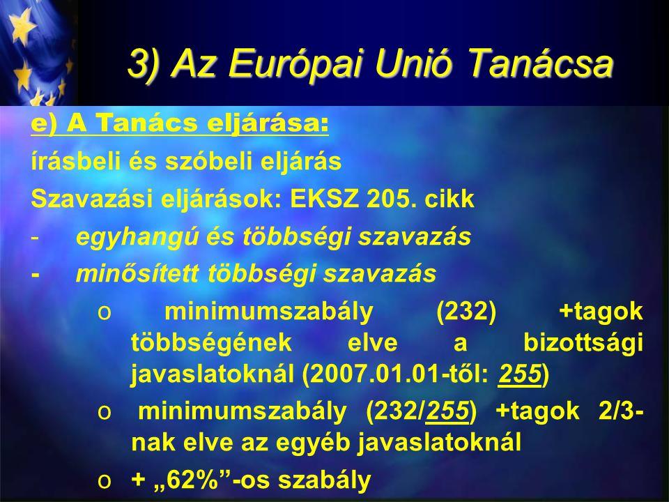 3) Az Európai Unió Tanácsa e) A Tanács eljárása: írásbeli és szóbeli eljárás Szavazási eljárások: EKSZ 205.