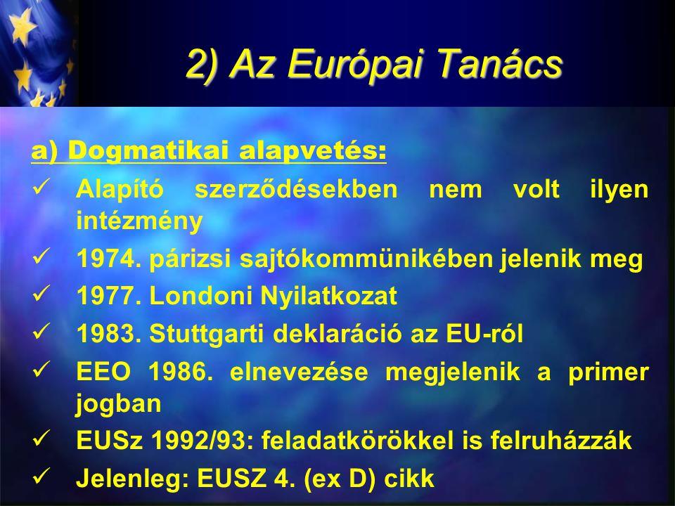"""2) Az Európai Tanács b.)Az Európai Tanács jellege: -hagyományos értelemben nem intézmény, de legfőbb politikai szervként az egyik legfontosabb faktorként határozza meg az EU működését -Az EU általános célkitűzéseinek meghatározása, ösztönzés, """"impulzus adása -az EU dinamikáját elsődlegesen képes meghatározni -Ennek egyik oka: a tagállamokban legitimitással bíró képviselőkből áll"""