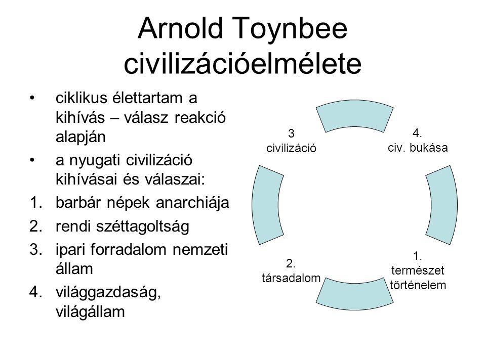 Arnold Toynbee civilizációelmélete ciklikus élettartam a kihívás – válasz reakció alapján a nyugati civilizáció kihívásai és válaszai: 1.barbár népek anarchiája 2.rendi széttagoltság 3.ipari forradalom nemzeti állam 4.világgazdaság, világállam 4.