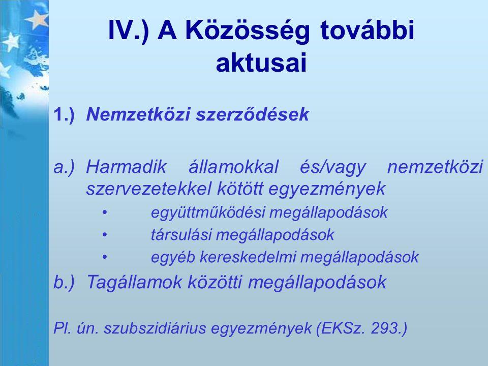 IV.) A Közösség további aktusai 1.)Nemzetközi szerződések a.)Harmadik államokkal és/vagy nemzetközi szervezetekkel kötött egyezmények együttműködési m