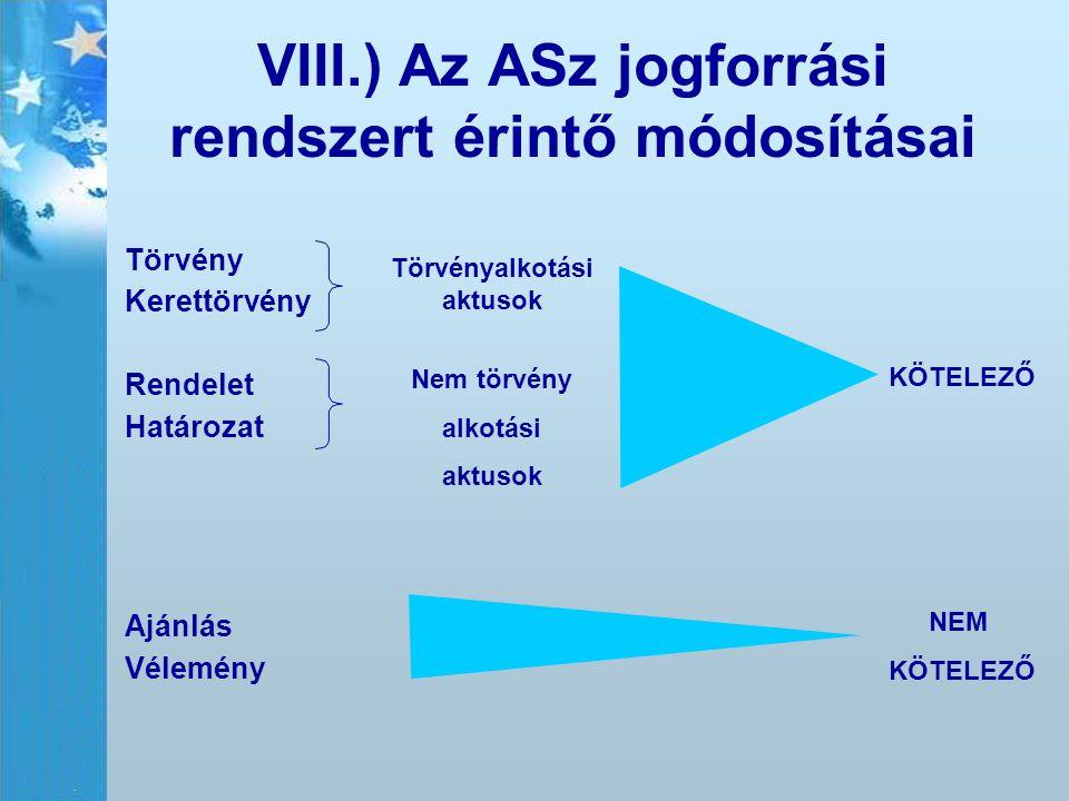 VIII.) Az ASz jogforrási rendszert érintő módosításai Törvény Kerettörvény Rendelet Határozat Ajánlás Vélemény Törvényalkotási aktusok Nem törvény alk