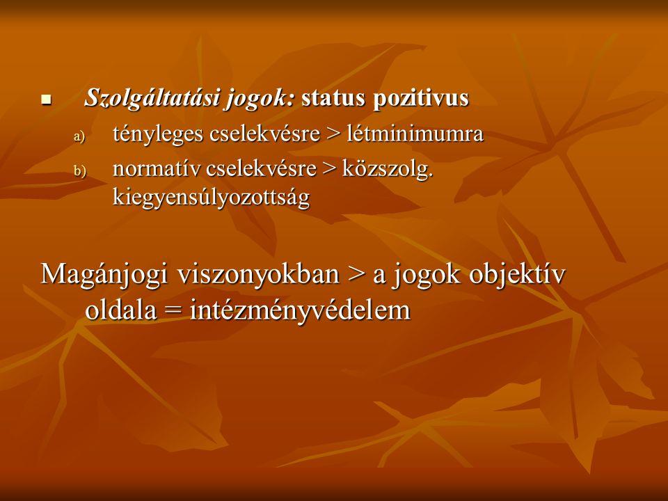 Szolgáltatási jogok: status pozitivus Szolgáltatási jogok: status pozitivus a) tényleges cselekvésre > létminimumra b) normatív cselekvésre > közszolg