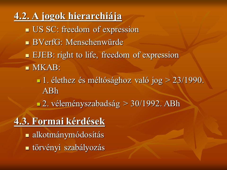 4.2. A jogok hierarchiája US SC: freedom of expression US SC: freedom of expression BVerfG: Menschenwürde BVerfG: Menschenwürde EJEB: right to life, f