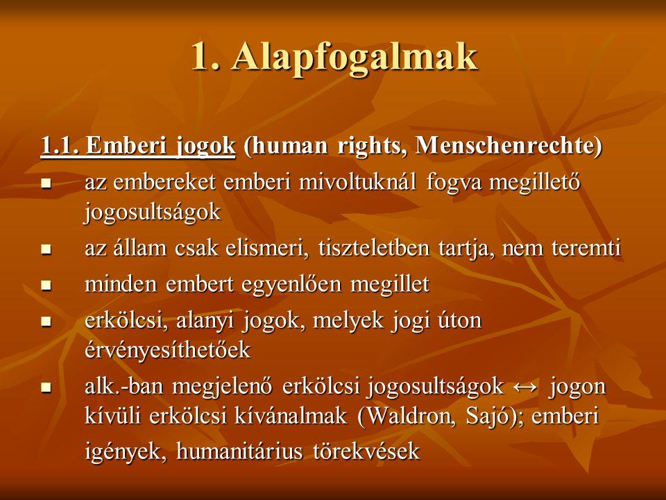 1. Alapfogalmak 1.1. Emberi jogok (human rights, Menschenrechte) az embereket emberi mivoltuknál fogva megillető jogosultságok az embereket emberi miv