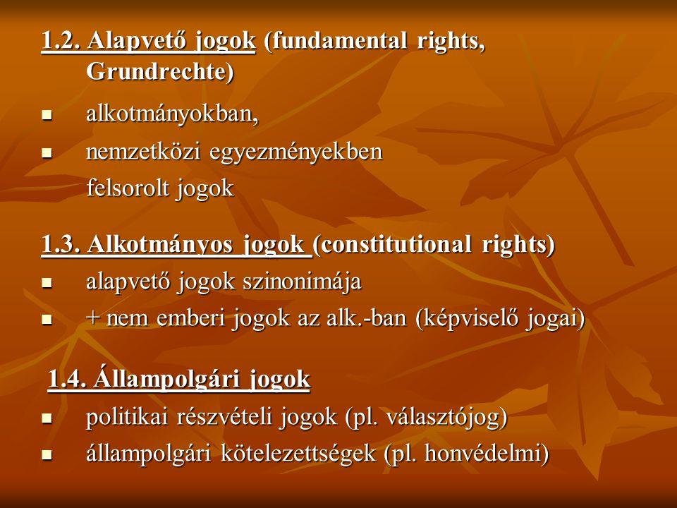 1.2. Alapvető jogok (fundamental rights, Grundrechte) alkotmányokban, alkotmányokban, nemzetközi egyezményekben nemzetközi egyezményekben felsorolt jo