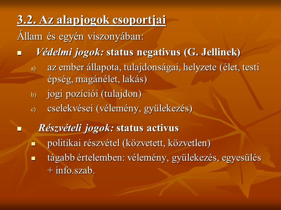 3.2. Az alapjogok csoportjai Állam és egyén viszonyában: Védelmi jogok: status negativus (G. Jellinek) Védelmi jogok: status negativus (G. Jellinek) a