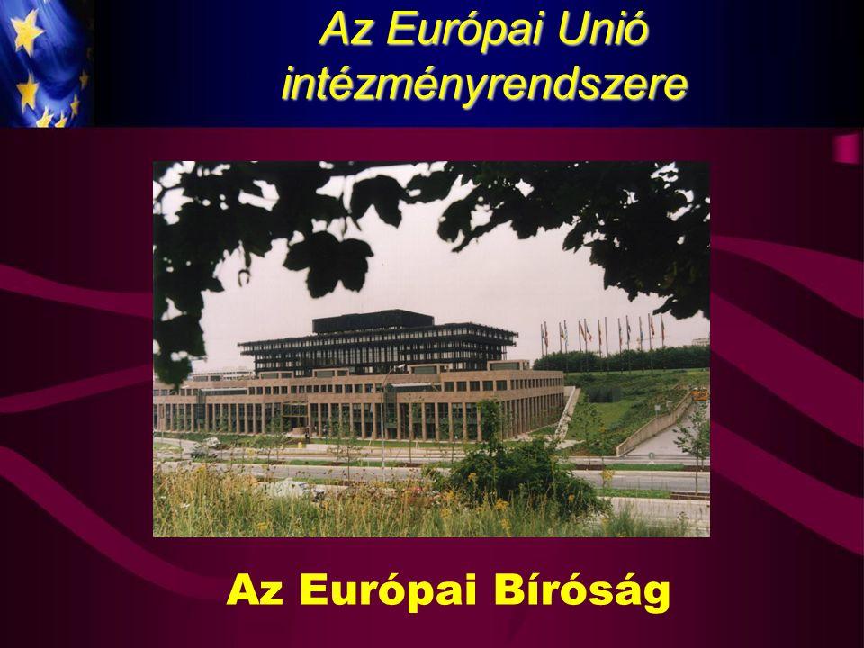 Az Európai Bíróság Az EuB helye az intézményrendszerben Európai Bíróság Európai Elsőfokú Bíróság Európai Közszolgálati Törvényszék Az ASz tárgykört érintő módosításai