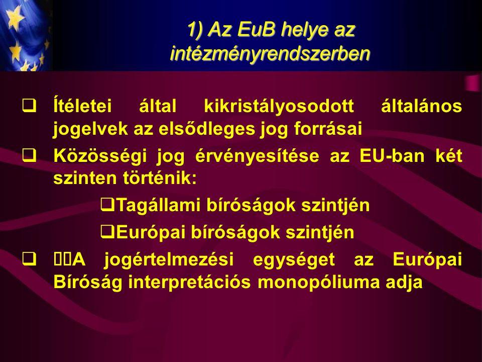 1) Az EuB helye az intézményrendszerben  Ítéletei által kikristályosodott általános jogelvek az elsődleges jog forrásai  Közösségi jog érvényesítése