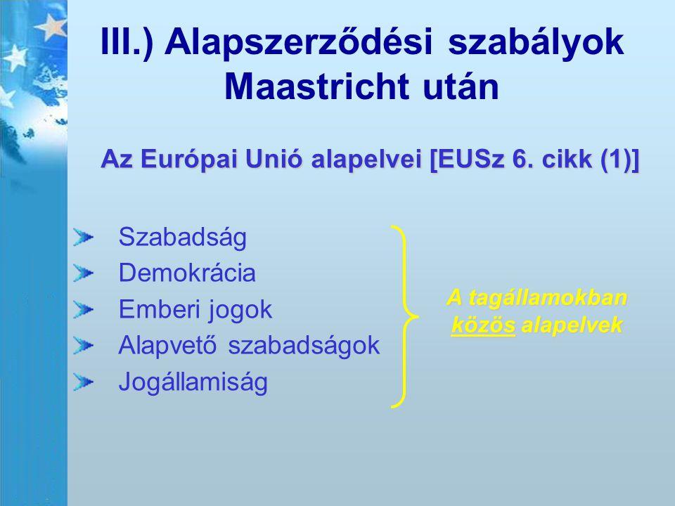 III.) Alapszerződési szabályok Maastricht után Az Európai Unió alapelvei [EUSz 6. cikk (1)] Szabadság Demokrácia Emberi jogok Alapvető szabadságok Jog