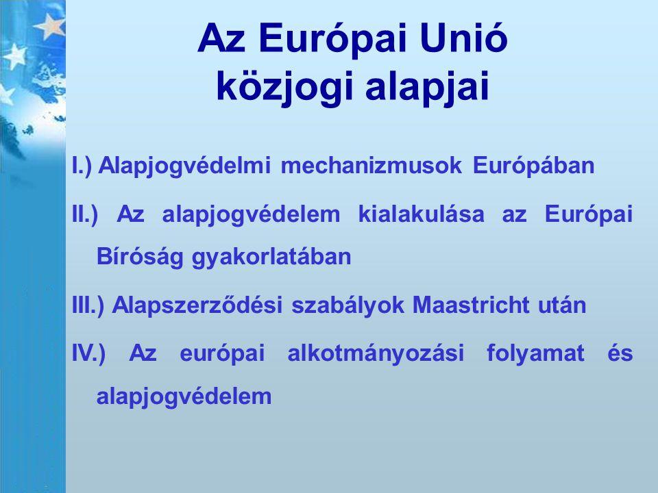 Az Európai Unió közjogi alapjai I.) Alapjogvédelmi mechanizmusok Európában II.) Az alapjogvédelem kialakulása az Európai Bíróság gyakorlatában III.) A