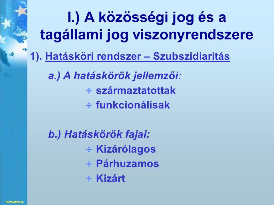 I.) A közösségi jog és a tagállami jog viszonyrendszere 1). Hatásköri rendszer – Szubszidiaritás a.) A hatáskörök jellemzői: származtatottak funkcioná