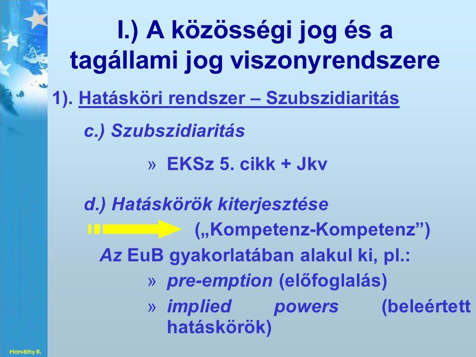 I.) A közösségi jog és a tagállami jog viszonyrendszere 1). Hatásköri rendszer – Szubszidiaritás c.) Szubszidiaritás » »EKSz 5. cikk + Jkv d.) Hatáskö