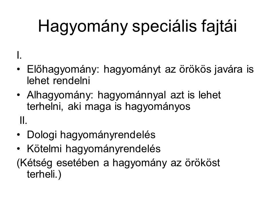 Hagyomány speciális fajtái I.