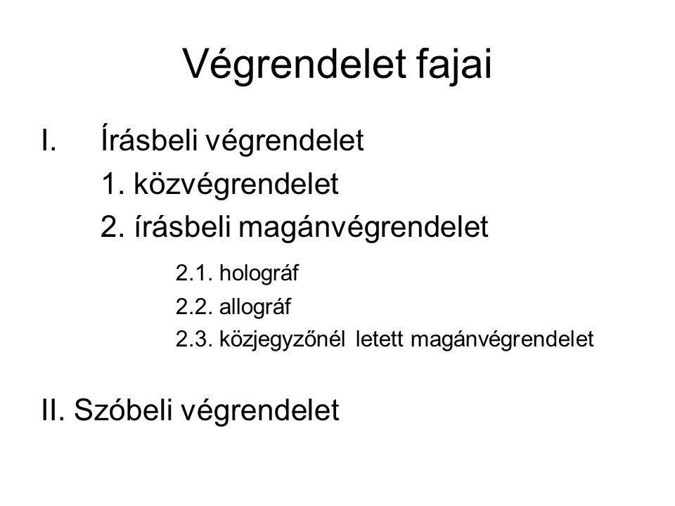 Végrendelet fajai I.Írásbeli végrendelet 1.közvégrendelet 2.