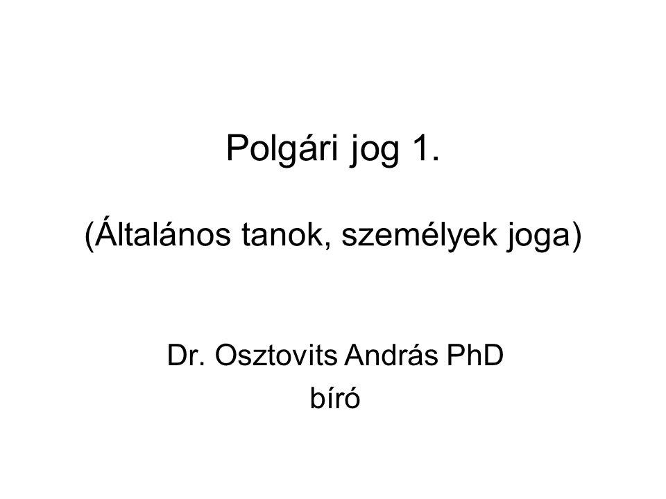 Polgári jog 1. (Általános tanok, személyek joga) Dr. Osztovits András PhD bíró