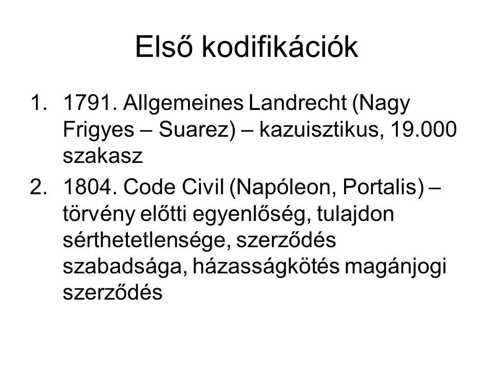 Első kodifikációk 1.1791. Allgemeines Landrecht (Nagy Frigyes – Suarez) – kazuisztikus, 19.000 szakasz 2.1804. Code Civil (Napóleon, Portalis) – törvé