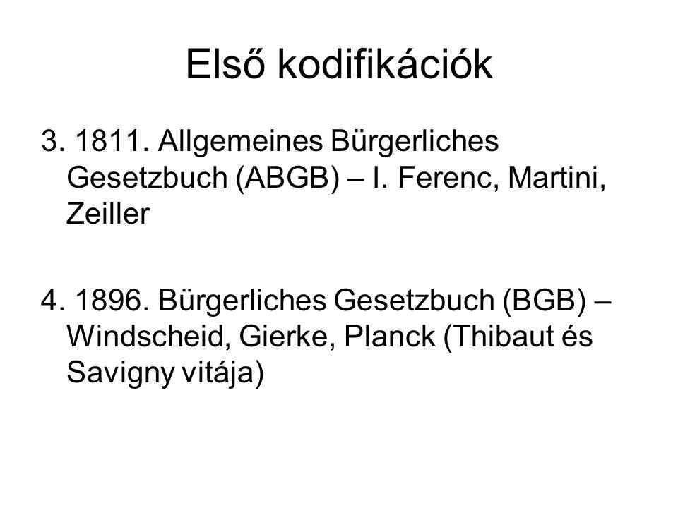 Első kodifikációk 3. 1811. Allgemeines Bürgerliches Gesetzbuch (ABGB) – I. Ferenc, Martini, Zeiller 4. 1896. Bürgerliches Gesetzbuch (BGB) – Windschei