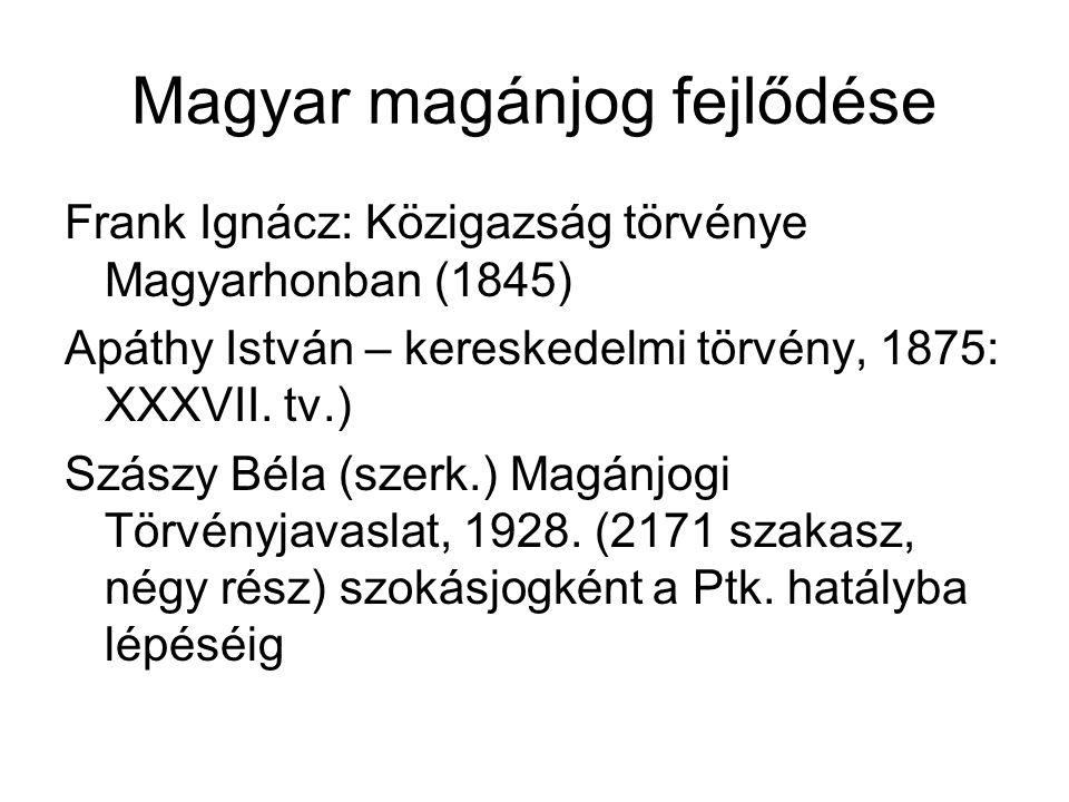 Magyar magánjog fejlődése Frank Ignácz: Közigazság törvénye Magyarhonban (1845) Apáthy István – kereskedelmi törvény, 1875: XXXVII. tv.) Szászy Béla (