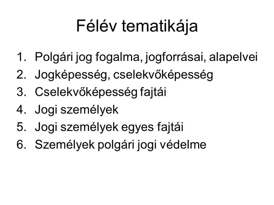 Kötelező tananyag Bíró György – Lenkovics Barnabás: Általános tanok (4.