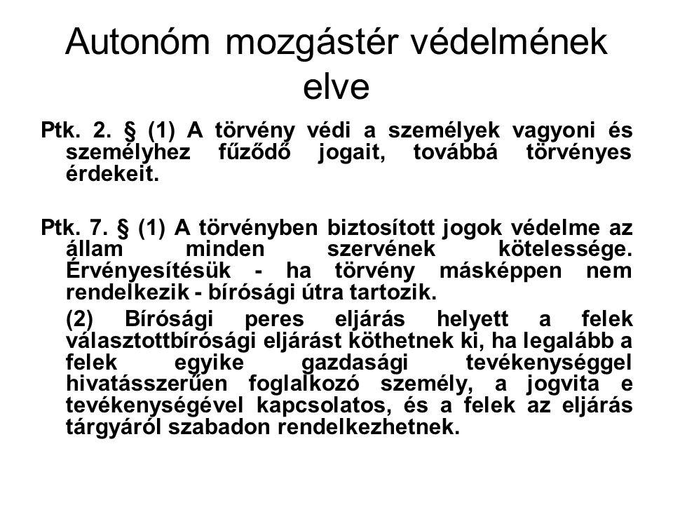 Autonóm mozgástér védelmének elve Ptk. 2. § (1) A törvény védi a személyek vagyoni és személyhez fűződő jogait, továbbá törvényes érdekeit. Ptk. 7. §
