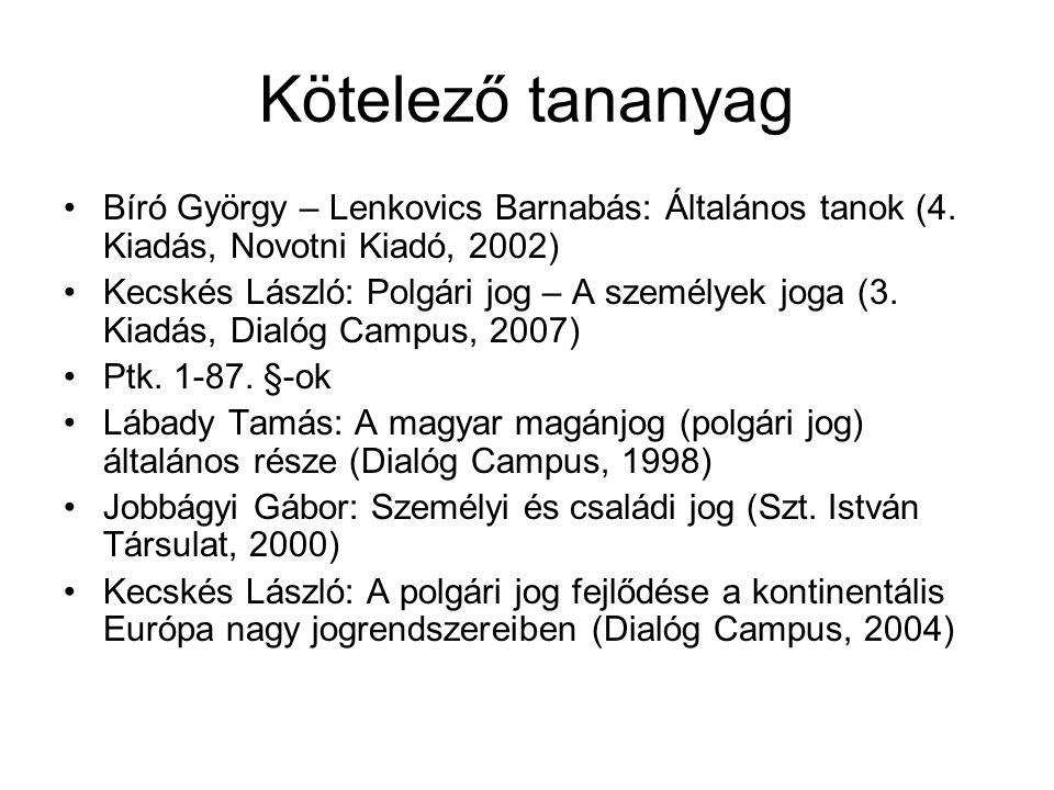 Kötelező tananyag Bíró György – Lenkovics Barnabás: Általános tanok (4. Kiadás, Novotni Kiadó, 2002) Kecskés László: Polgári jog – A személyek joga (3