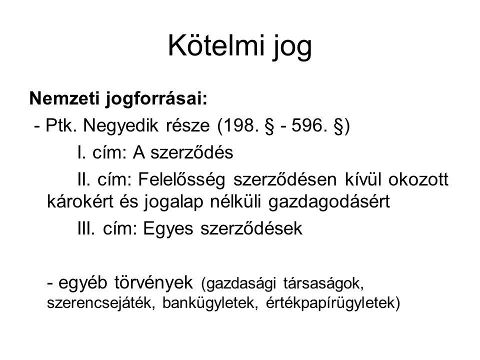 Kötelmi jog Nemzeti jogforrásai: - Ptk.Negyedik része (198.