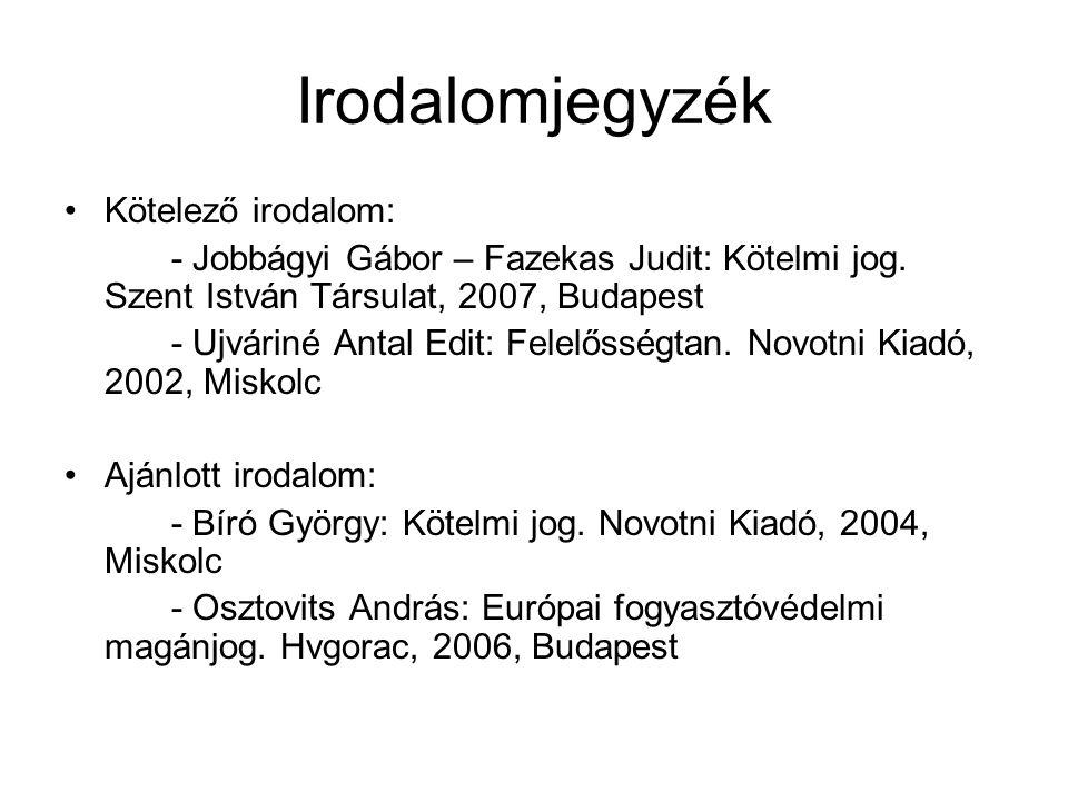 Irodalomjegyzék Kötelező irodalom: - Jobbágyi Gábor – Fazekas Judit: Kötelmi jog.