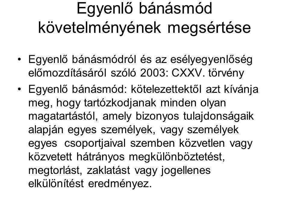 Egyenlő bánásmód követelményének megsértése Egyenlő bánásmódról és az esélyegyenlőség előmozdításáról szóló 2003: CXXV.