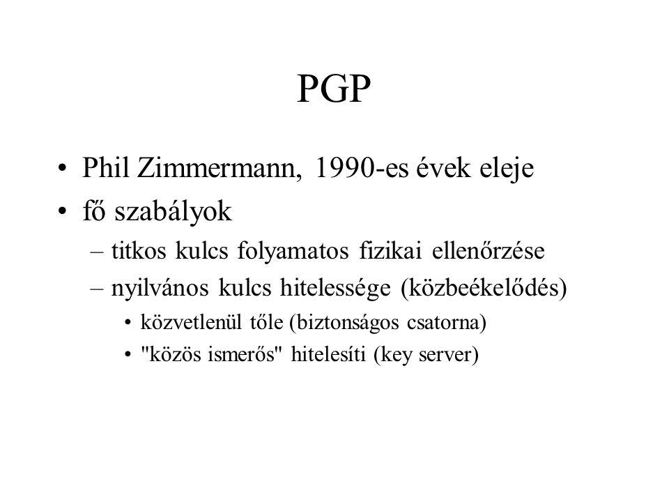 PGP Phil Zimmermann, 1990-es évek eleje fő szabályok –titkos kulcs folyamatos fizikai ellenőrzése –nyilvános kulcs hitelessége (közbeékelődés) közvetlenül tőle (biztonságos csatorna) közös ismerős hitelesíti (key server)