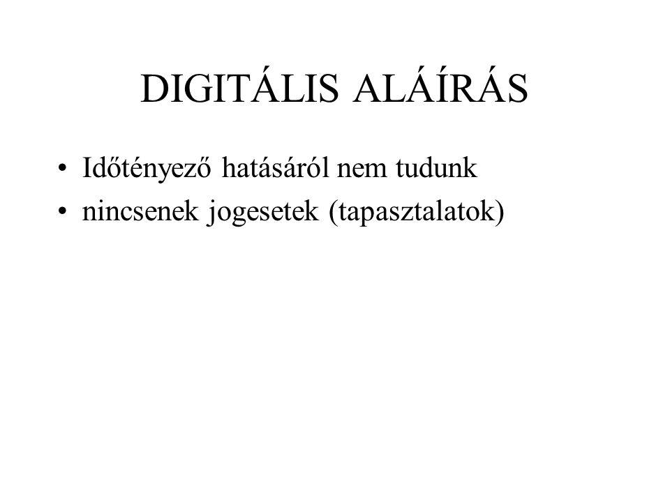 DIGITÁLIS ALÁÍRÁS Időtényező hatásáról nem tudunk nincsenek jogesetek (tapasztalatok)