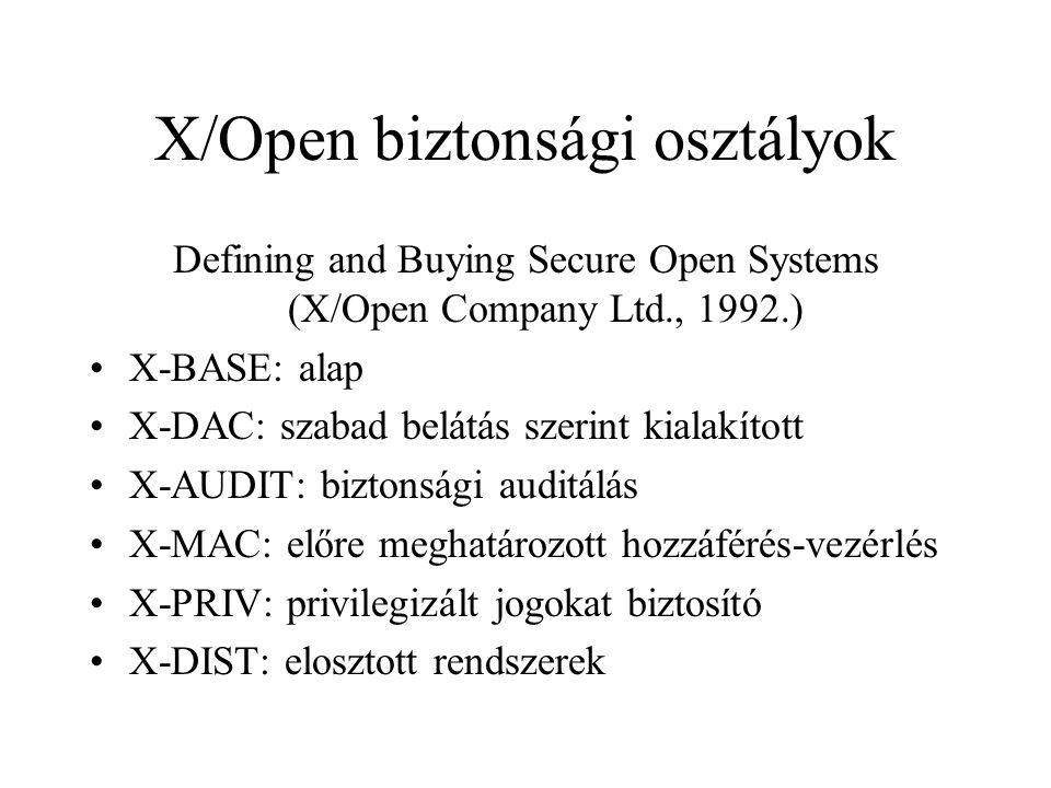 X/Open biztonsági osztályok Defining and Buying Secure Open Systems (X/Open Company Ltd., 1992.) X-BASE: alap X-DAC: szabad belátás szerint kialakított X-AUDIT: biztonsági auditálás X-MAC: előre meghatározott hozzáférés-vezérlés X-PRIV: privilegizált jogokat biztosító X-DIST: elosztott rendszerek