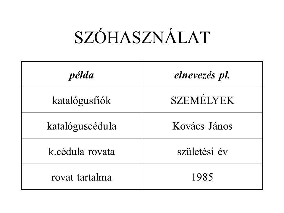 SZÓHASZNÁLAT példaelnevezés pl. katalógusfiókSZEMÉLYEK katalóguscédulaKovács János k.cédula rovataszületési év rovat tartalma1985
