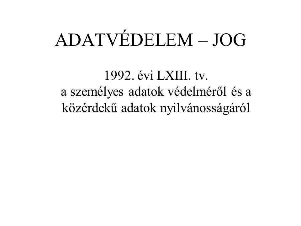ADATVÉDELEM – JOG 1992. évi LXIII. tv.
