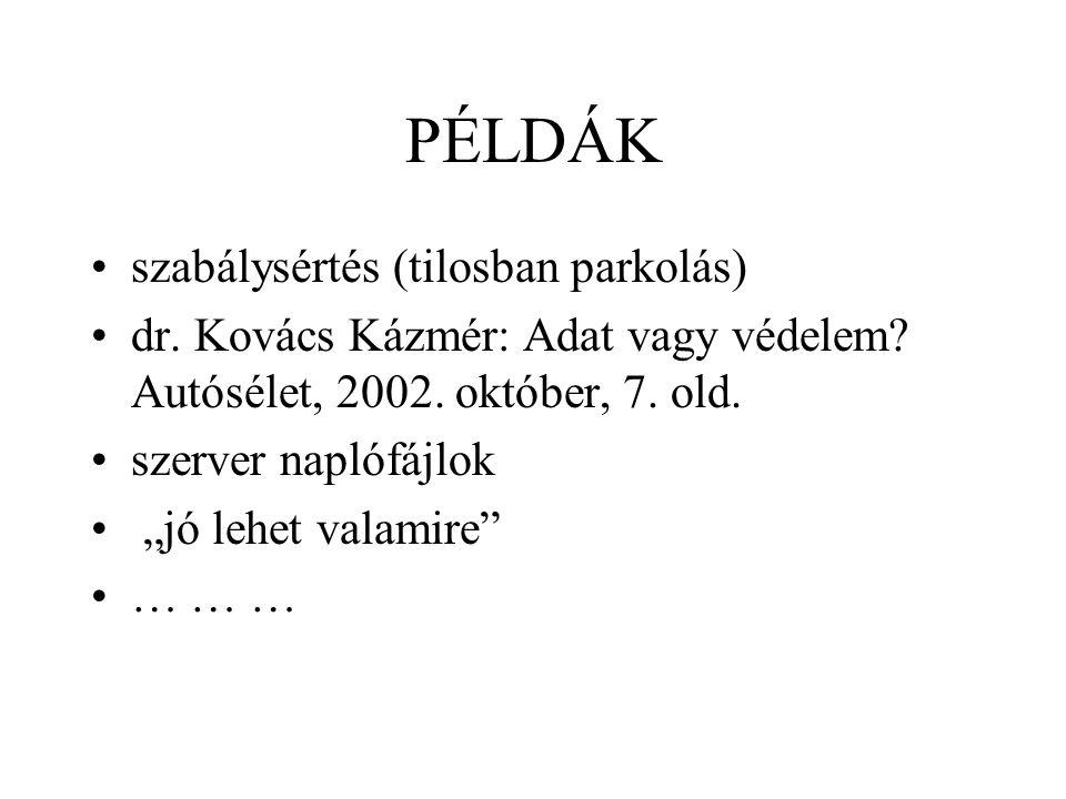 PÉLDÁK szabálysértés (tilosban parkolás) dr. Kovács Kázmér: Adat vagy védelem.