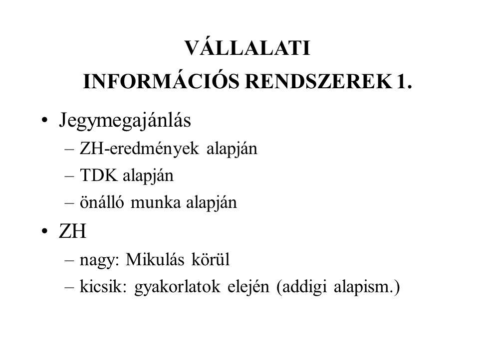 VÁLLALATI INFORMÁCIÓS RENDSZEREK 1.
