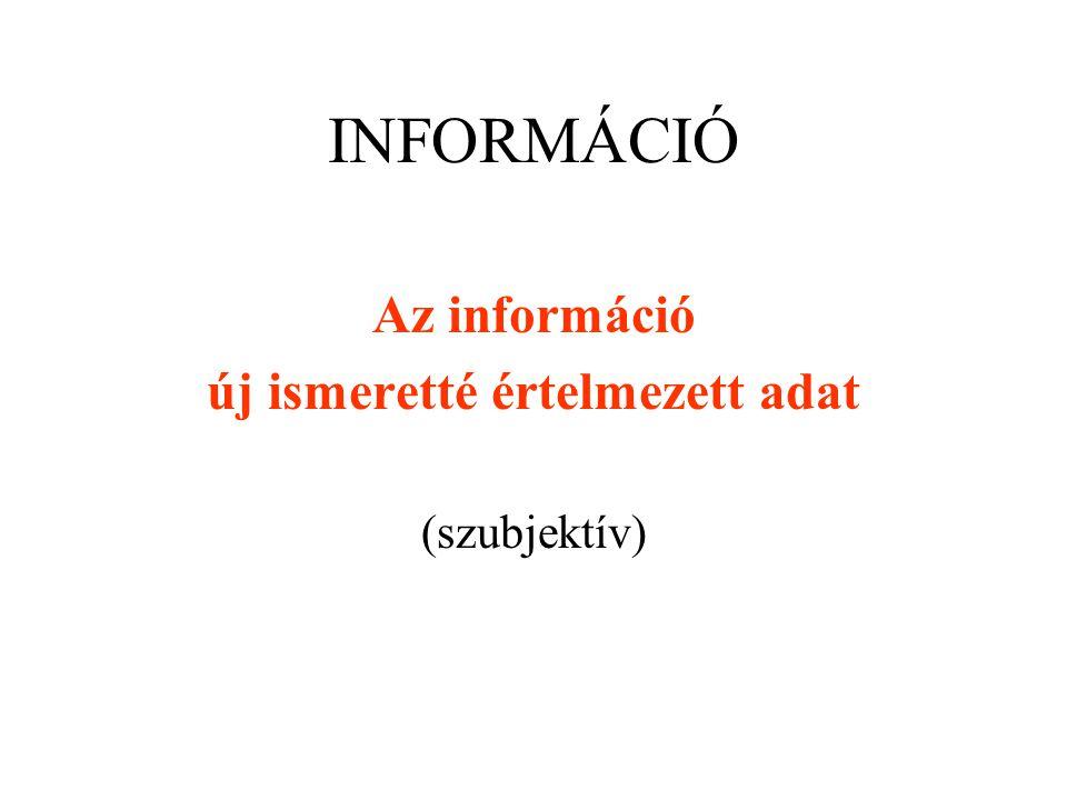 INFORMÁCIÓ Az információ új ismeretté értelmezett adat (szubjektív)