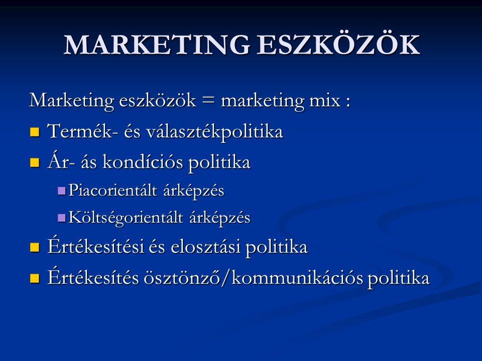 MARKETING ESZKÖZÖK Marketing eszközök = marketing mix : Termék- és választékpolitika Termék- és választékpolitika Ár- ás kondíciós politika Ár- ás kon