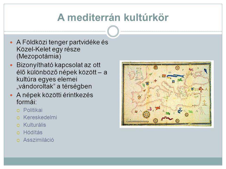 A mediterrán kultúrkör A Földközi tenger partvidéke és Közel-Kelet egy része (Mezopotámia) Bizonyítható kapcsolat az ott élő különböző népek között –