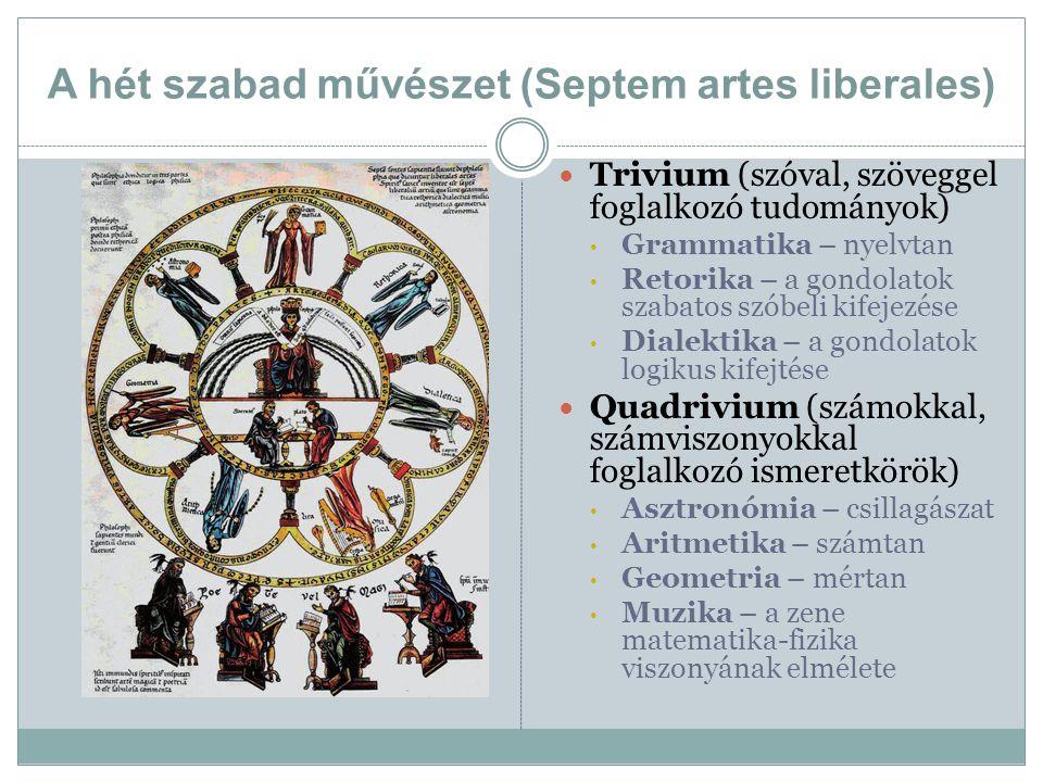 A hét szabad művészet (Septem artes liberales) Trivium (szóval, szöveggel foglalkozó tudományok) Grammatika – nyelvtan Retorika – a gondolatok szabato
