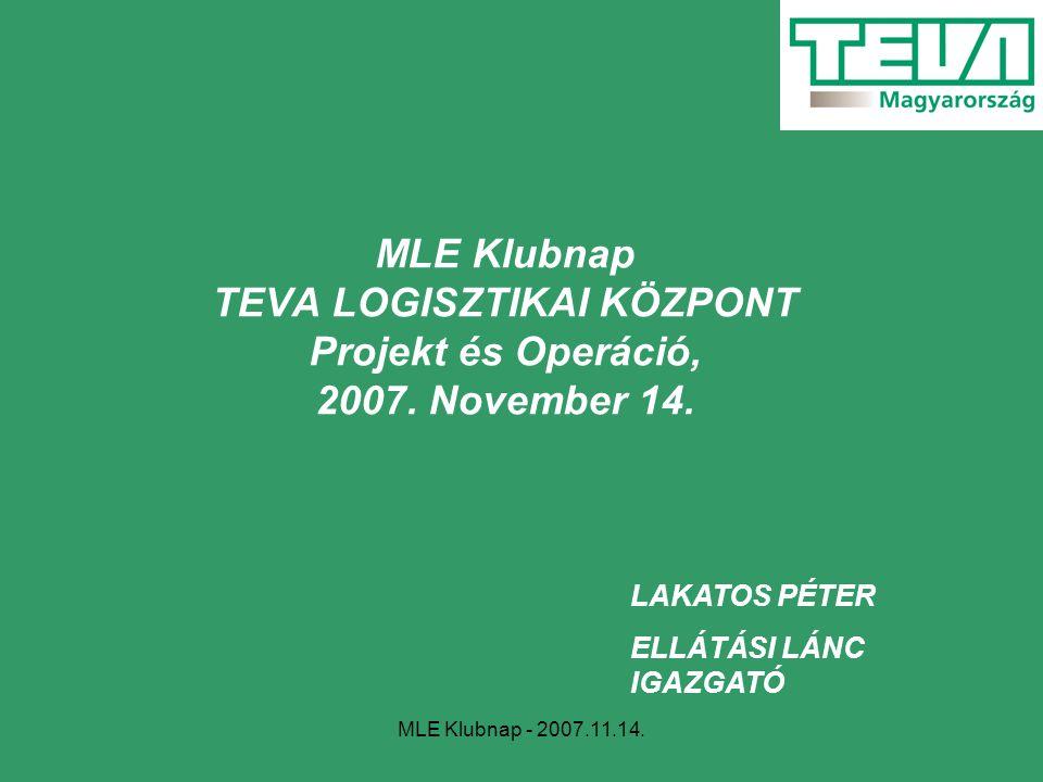 MLE Klubnap - 2007.11.14. MLE Klubnap TEVA LOGISZTIKAI KÖZPONT Projekt és Operáció, 2007. November 14. LAKATOS PÉTER ELLÁTÁSI LÁNC IGAZGATÓ
