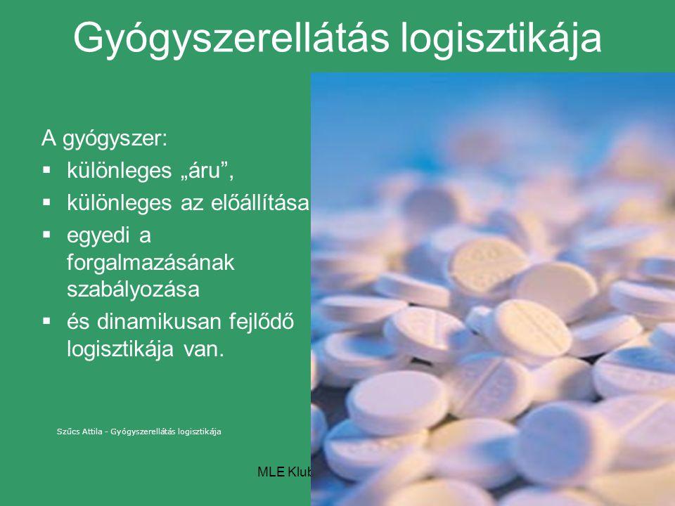"""MLE Klubnap - 2007.11.14. Gyógyszerellátás logisztikája A gyógyszer:  különleges """"áru"""",  különleges az előállítása,  egyedi a forgalmazásának szabá"""