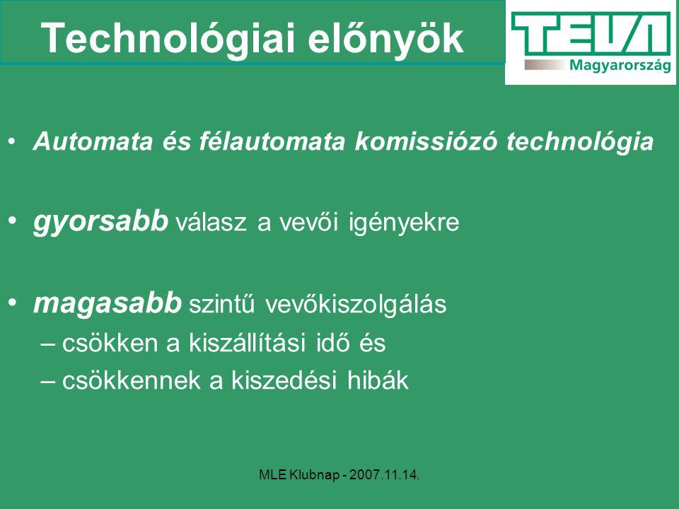 MLE Klubnap - 2007.11.14. Technológiai előnyök Automata és félautomata komissiózó technológia gyorsabb válasz a vevői igényekre magasabb szintű vevőki