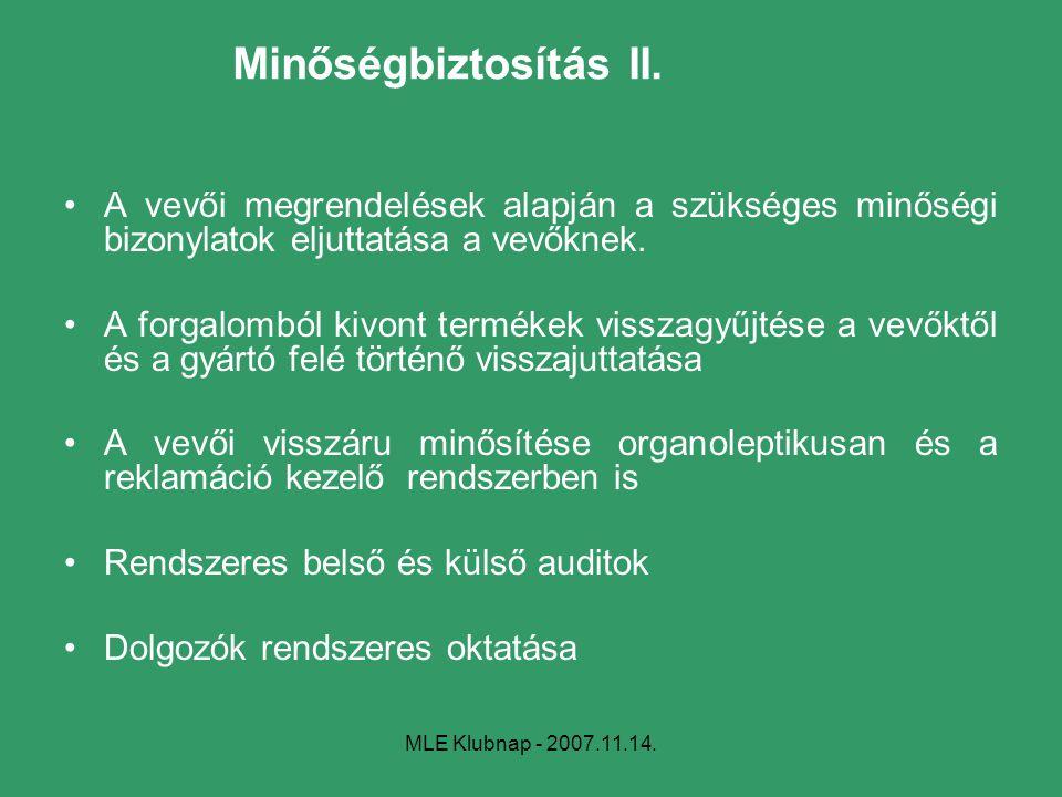 MLE Klubnap - 2007.11.14. Minőségbiztosítás II. A vevői megrendelések alapján a szükséges minőségi bizonylatok eljuttatása a vevőknek. A forgalomból k