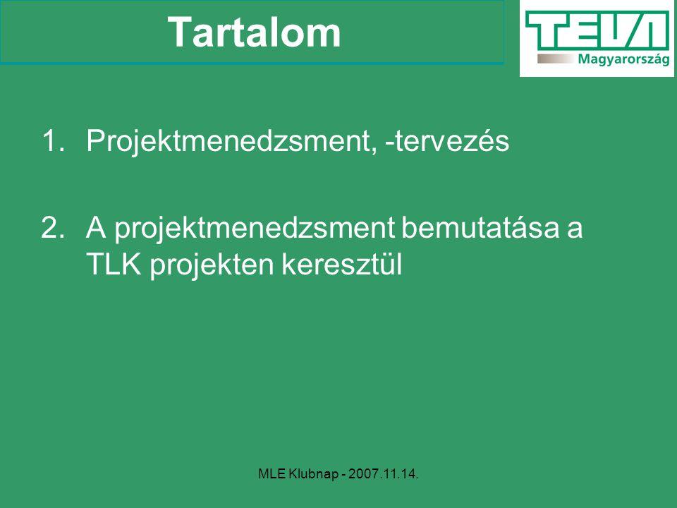 MLE Klubnap - 2007.11.14. Tartalom 1.Projektmenedzsment, -tervezés 2.A projektmenedzsment bemutatása a TLK projekten keresztül