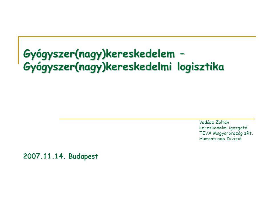 Gyógyszer(nagy)kereskedelem – Gyógyszer(nagy)kereskedelmi logisztika Vadász Zoltán kereskedelmi igazgató TEVA Magyarország zRt.