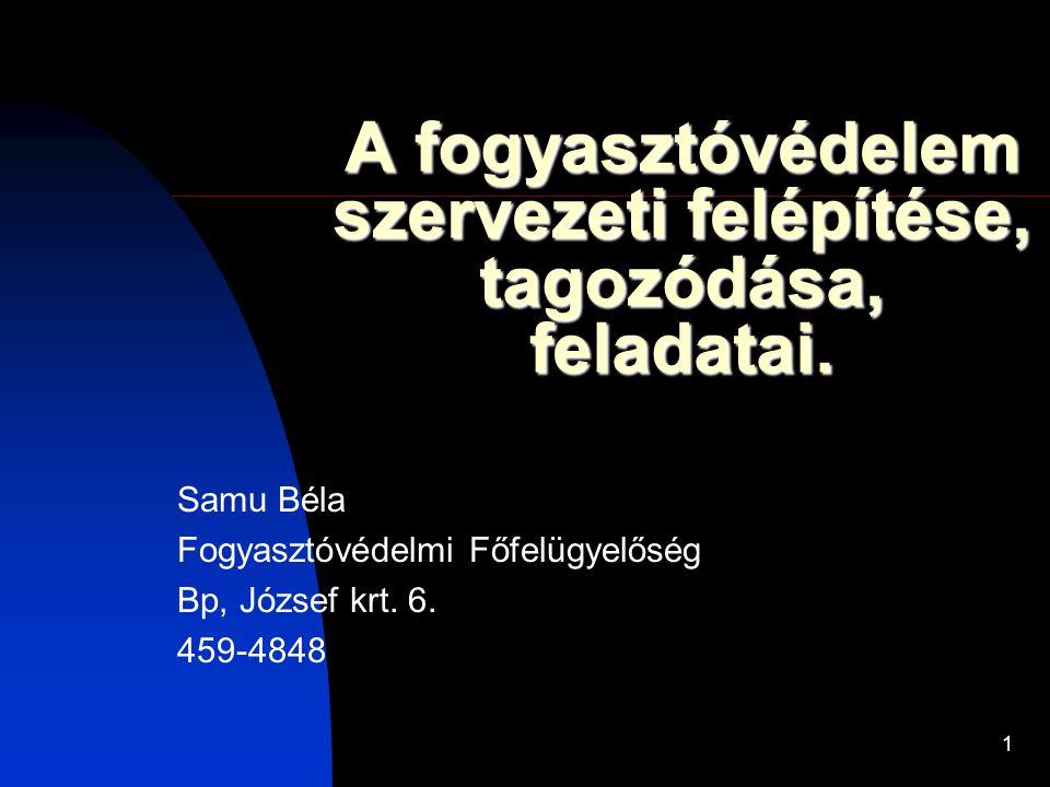 1 A fogyasztóvédelem szervezeti felépítése, tagozódása, feladatai. Samu Béla Fogyasztóvédelmi Főfelügyelőség Bp, József krt. 6. 459-4848