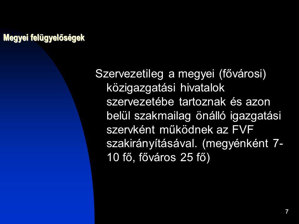 7 Megyei felügyelőségek Szervezetileg a megyei (fővárosi) közigazgatási hivatalok szervezetébe tartoznak és azon belül szakmailag önálló igazgatási sz